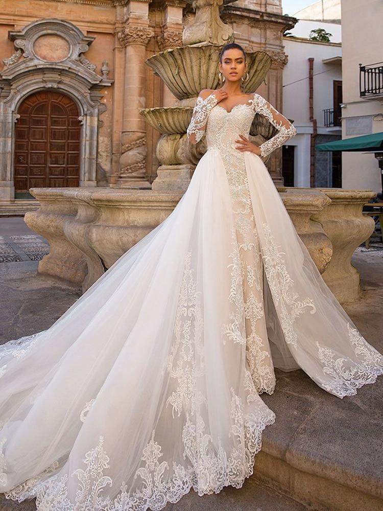 Image 5 - Detachable Mermaid Wedding Dresses Long SLeeve Vestido De Novia 2020 ETHEL ROLYN Sexy Sweetheart Bride Champagne Wedding GownsWedding Dresses   -