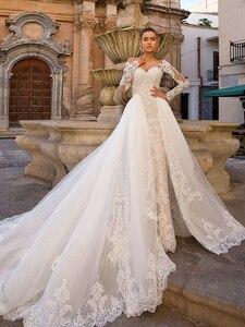Image 5 - נתיק בת ים חתונת שמלות ארוך שרוול Vestido דה Novia 2020 אתל ROLYN סקסי מתוקה כלה שמפניה כלה שמלות