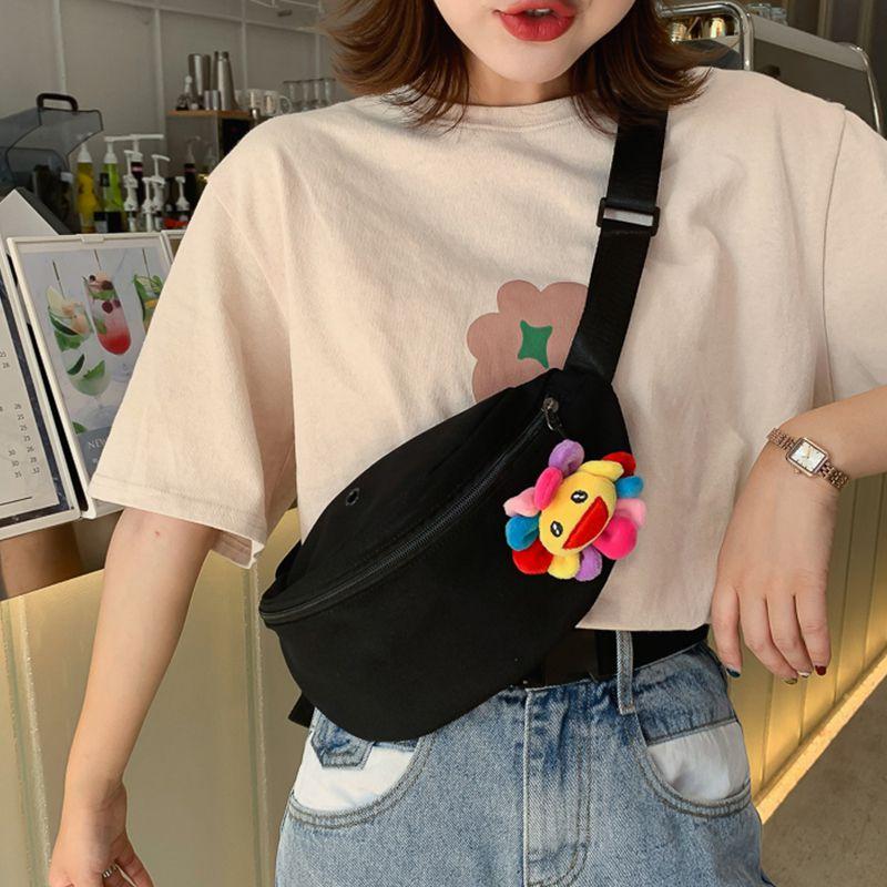 2019 Womens Waist Bag Fanny Pack Canvas Bag Belt Purse Small Purses Phone Key Pouch White Black Yellow Waist Packs