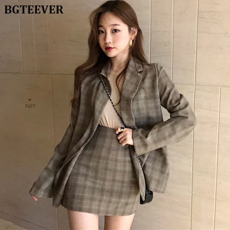 Vintage Women Skirt Suit Single-breasted Jacket & Pencil Skirt Streetwear Two-pieces Plaid Blazer Suits Female Blazer Sets 2019