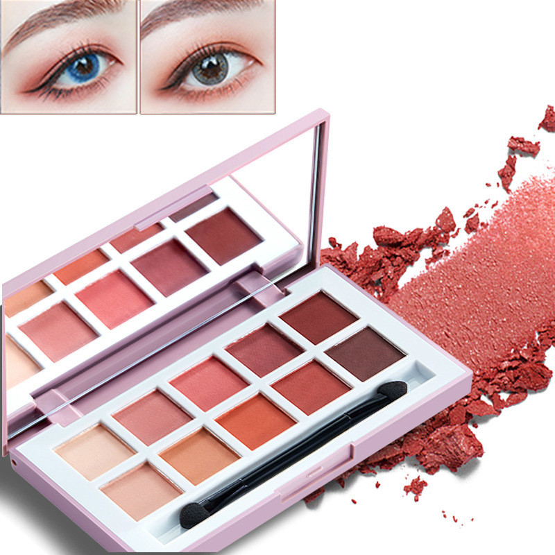 Ten color grapefruit eyeshadow earth matte pearl light tray peach makeup