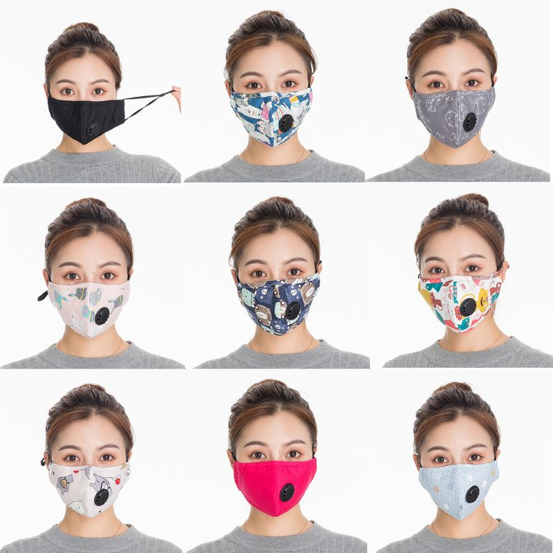 Adult Unisex Outdoor Cotton Washable PM2.5 Anti Pollution Mouth Mask With Valve