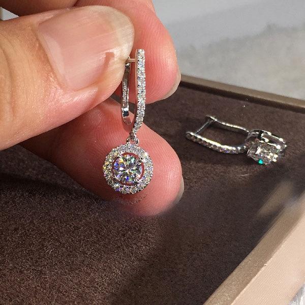 Classic Female Round Zircon Drop Earrings Vintage Party Dangle Earrings For Women Elegant Silver Color Bride Wedding Earrings