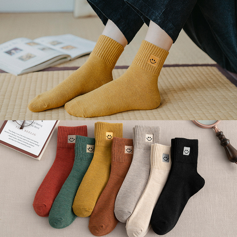 Women's Cotton Socks Happy Fashion Solid Color Smiley Socks Summer Spring Autumn Short Harajuku Casual Cute Unisex SockS 1 Pairs