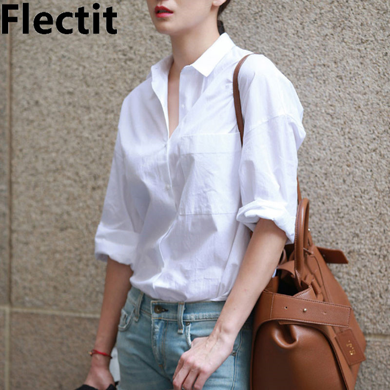 Flectit Casual Chic Women White Shirt Basic Collar Button Down Long Sleeve Boyfriend Blouse Spring Summer Tops Outfit *