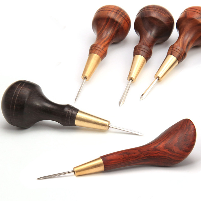 Stitching Awl With Diamond Shape Blade Cutter Cutting Leather Cut With Good Wooden Handle Professional Leather Craft