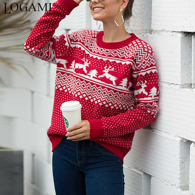 LOGAMI Christmas Sweater Womens Snow and Dear Jumper Autumn Winter Vintage Pullover 2019 New Arrival