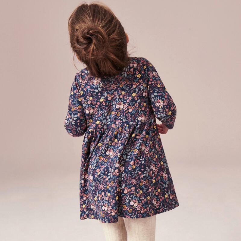 Little maven kids girls fashion brand autumn children's dress baby girls clothes Cotton floral print toddler girl dresses S0845 3