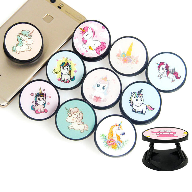 Cute Unicorns Animals ABS Expanding Phone Stand And Grip Finger Ring Phone Bracket Foldable Phone Holder For Stand Holder