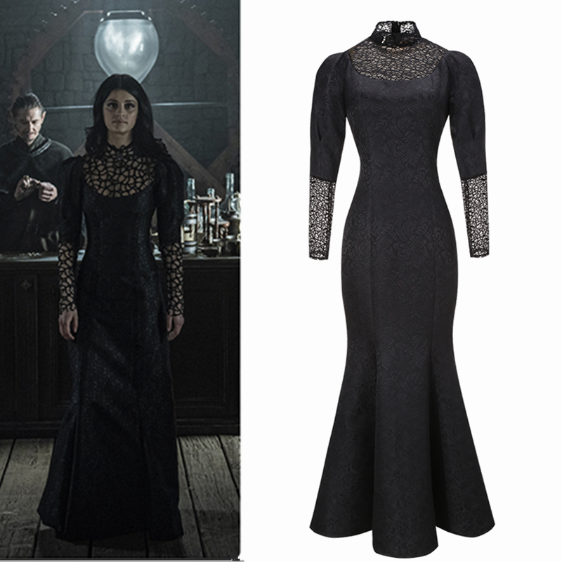 TV Series Yennefer Of Vengerberg Cosplay Costume Women For Party Sexy Lace Dress Black Dress See Through Mermaid Skirt In Stock