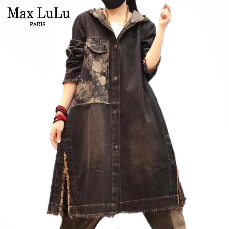 Max LuLu Autumn 2019 Korean Fashion Vintage Streetwear Ladies Loose Denim Trench Women Hooded Long Coat Oversized Windbreaker