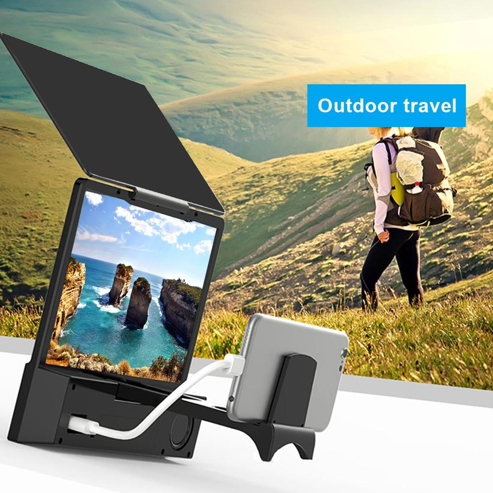 8 inch Mobile Phone 3D Screen Video Magnifier Folding Curved Enlarged HD Movie Amplifying Projector Stand Bracket with Speaker image