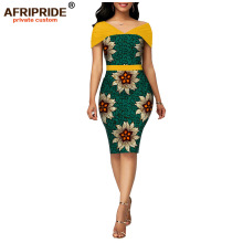 African wax summer bodycon dresses for women AFRIPRIDE tailor made adjustable sleeves knee length women party dress A1925006