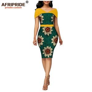 Image 1 - Cire africaine été robes moulantes pour les femmes AFRIPRIDE sur mesure manches réglables genou longueur femmes robe de soirée A1925006