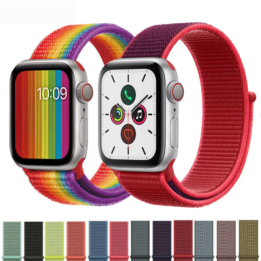 Nylon loop Strap for apple watch band 44mm/40mm 4 5 bracelet iwatch band 42mm/38mm 3 2 1 Colorful sport watchband Accessories