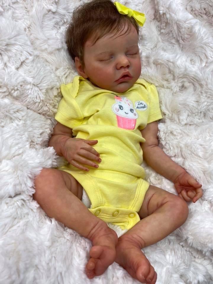 Npk 45cm twinb doce menina do bebê no vestido amarelo reborn premie bebê recém-nascido boneca detalhada pintura à mão real toque macio boneca