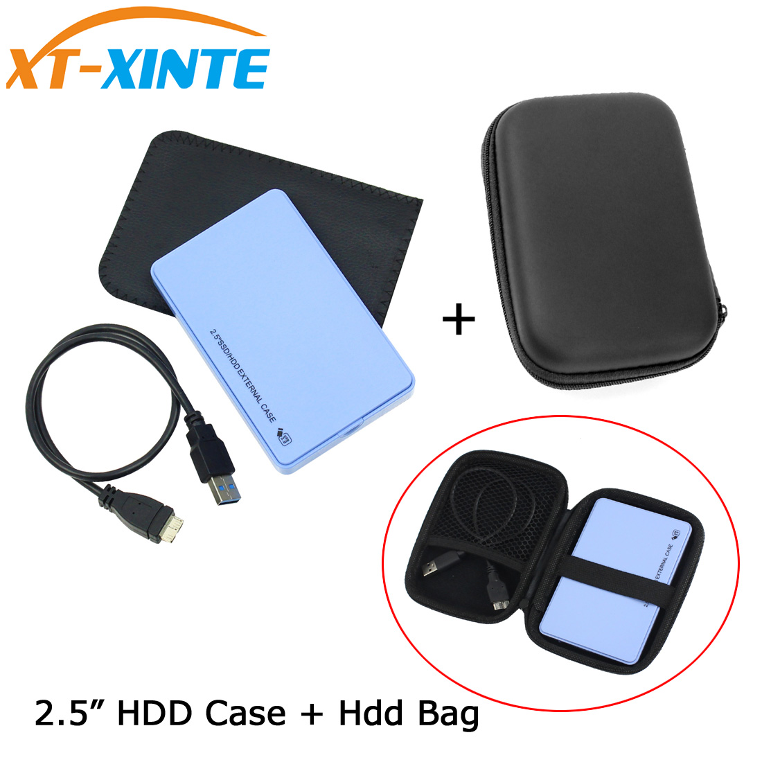 """1 Set 2.5"""" SATA to USB 3.0 HDD SSD Hard Disk Enclosure External Case with Organizer Storage Bag 5Gbps Data Transfer Backup Tool"""