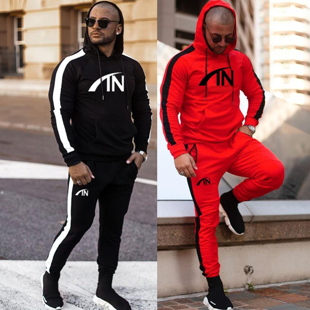 Casual Sportswear Suit Gym Fitness Tracksuit Hoodies Pants Set Men Fashion Sweatshirt Male Cotton Joggers Sweatpants Hooded Coat