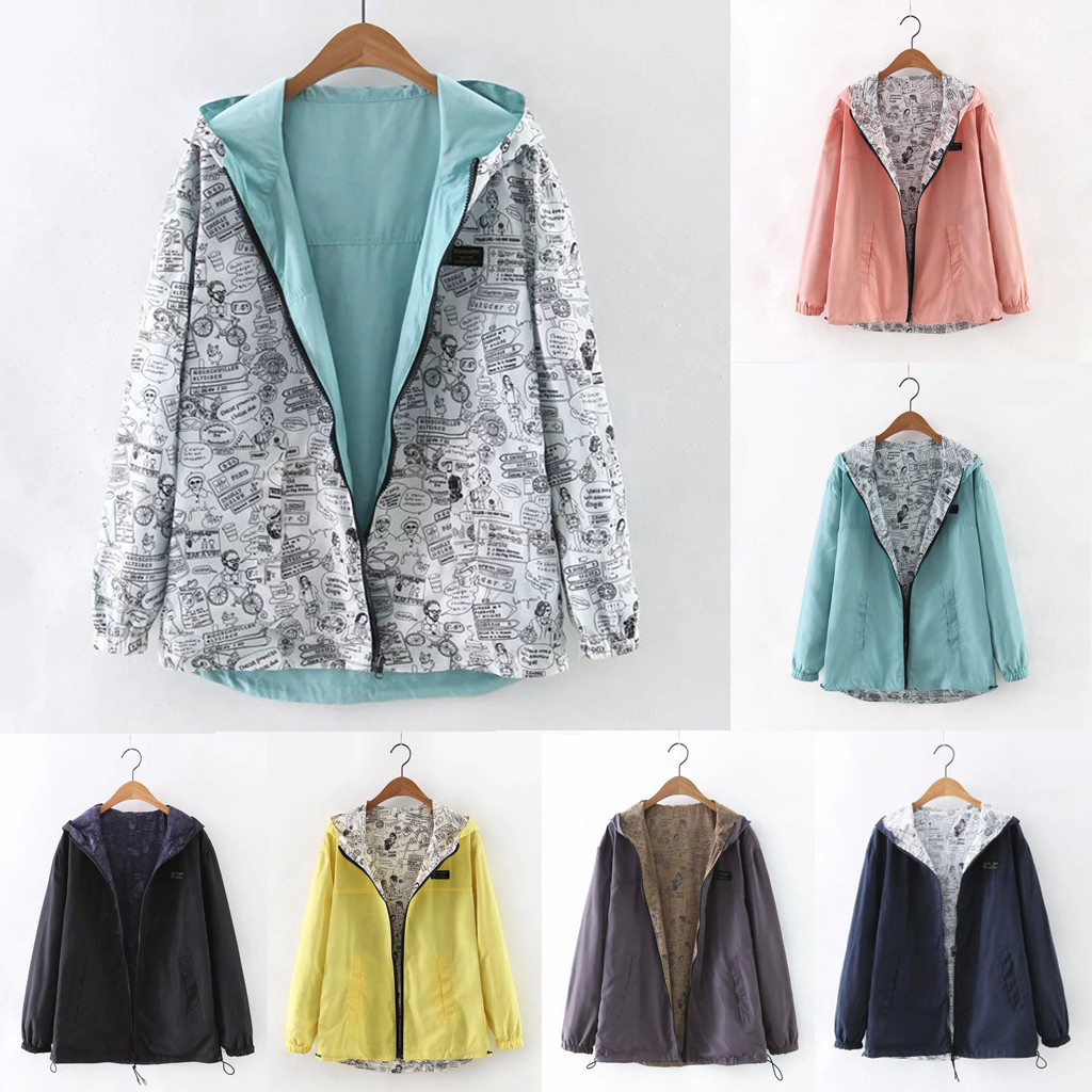 Women Casual Solid Color Print Wear Both Long Sleeve Hooded Jacket Dropshipping Size Leisure Work Clothes Free Shippin Winter Au