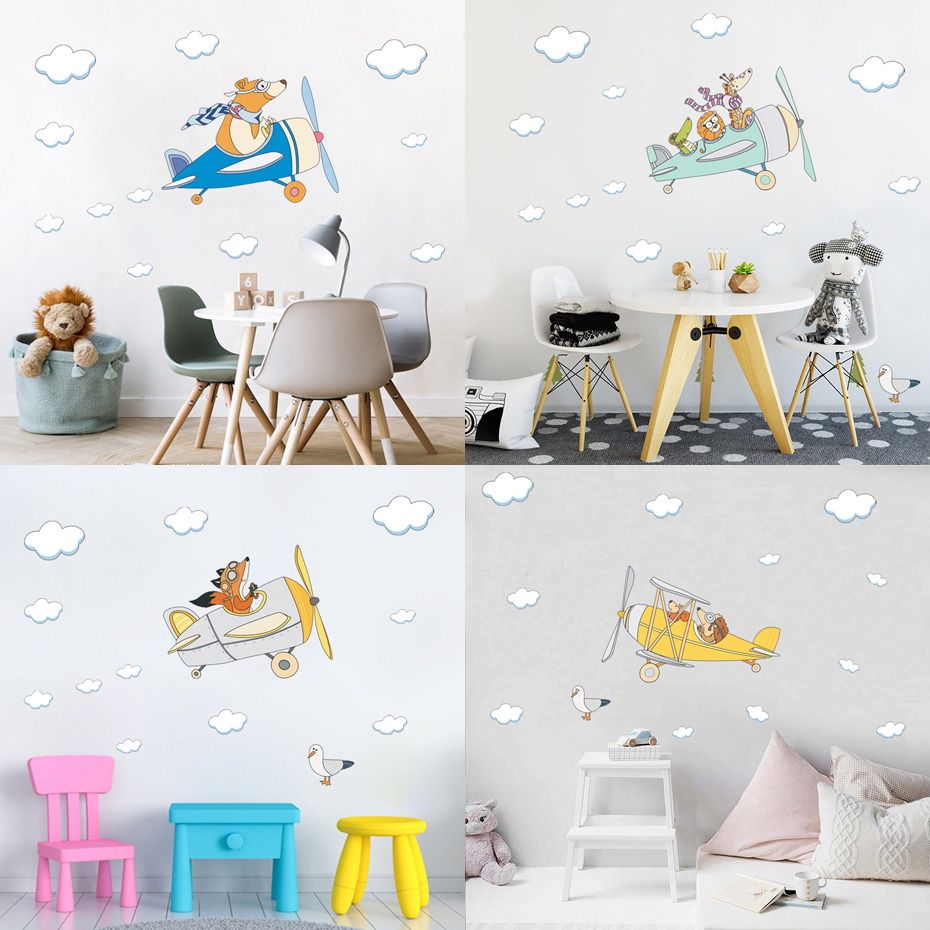 Fox Wall Decal Airplane Nursery Stickers Watercolor Animals Kids Room Decal Vinyl DIY Art Home Mural Waterproof Self-adhesive