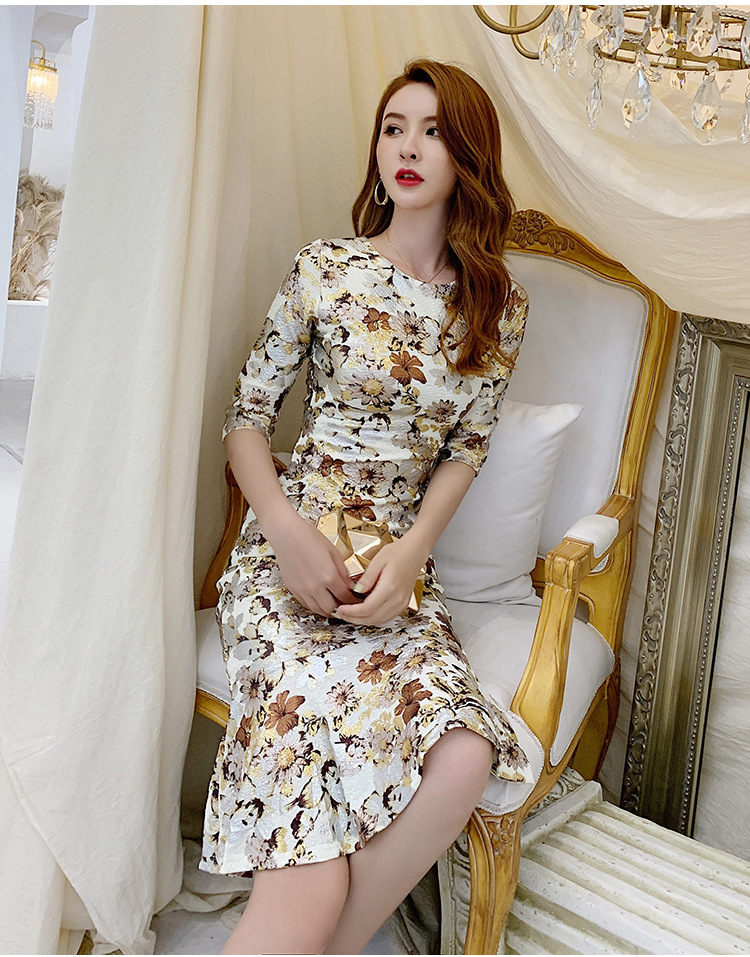 Spring Sexy Party Bodycon Mermaid Dresses Women Three-quarter Sleeve O Neck Dresses Office Print Vintage High-end Bandage Dress