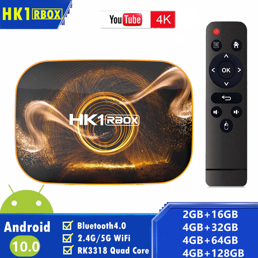 2020 HK1 RBOX R1 TV Boxสมาร์ทAndroid Tv Box 4GB 32G/64G128G Dual WiFi BT4.0 Rockchip RK3318 4K HDR Media Android 10ชุดกล่องด้านบน