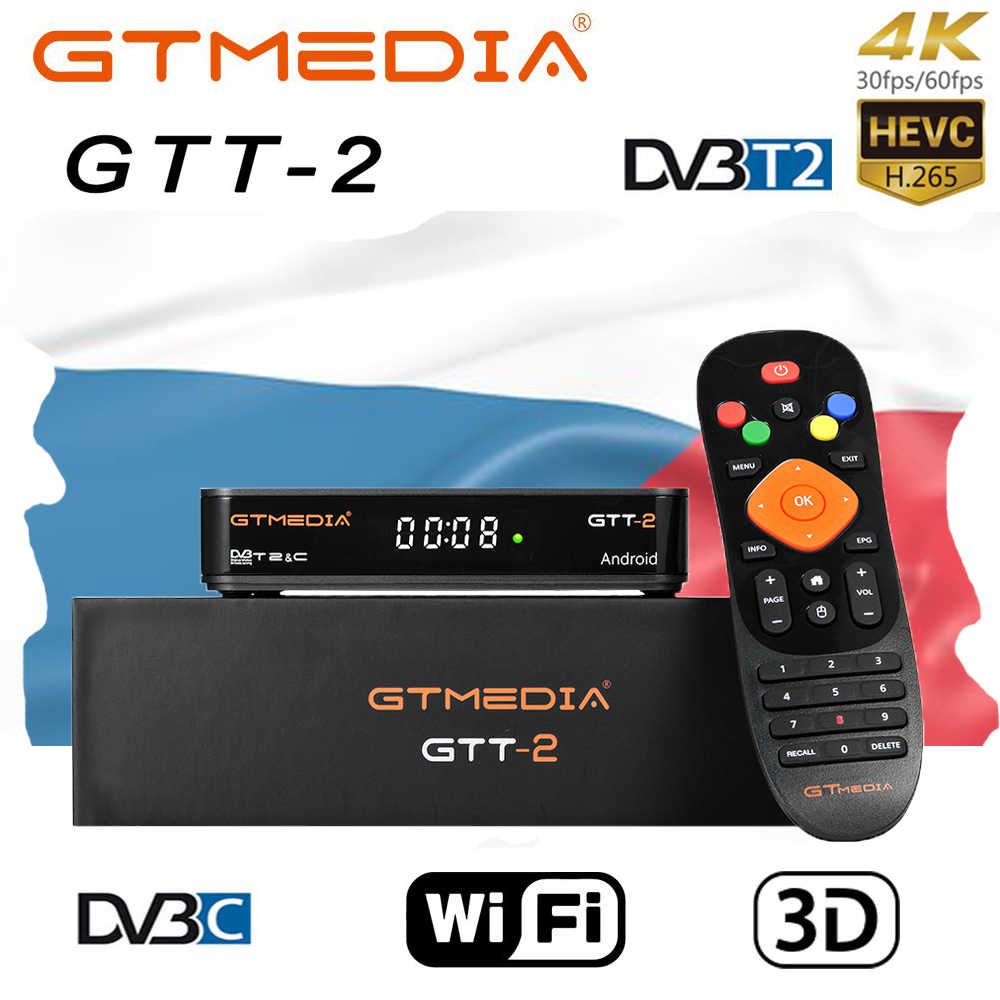 GTMEDIA GTT2 Smart tv box DVB-T2/câble (J83.A/C)/ATSC-C/ISDBT android 6.0 2GB 8GB Bluetooth 4K H.265 WiFi tchèque IPTV Android box