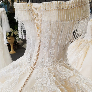 Image 5 - LS65392 ivory off shoulder sweetheart ball gown lace up back hand work wedding dresses from china robe blanche mariage