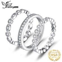 Jpalace結婚指輪セット 925 スターリングシルバーリング女性周年エタニティスタッキングリングバンドリングセットシルバー 925 ジュエリー