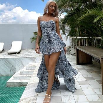 Missord 2020 Sexy Sleeveless Floral Printing Women Holiday Dresses Ruffles Beach Style Boho Summer M0358