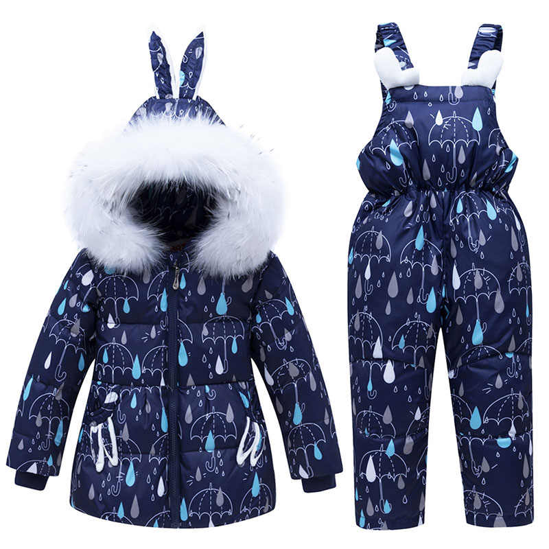 2019 New Winter Children Down Clothing Sets 1-3 Years Baby Girls & Boys Down Jacket + Overall Kids Winter Suit Warm Clothes