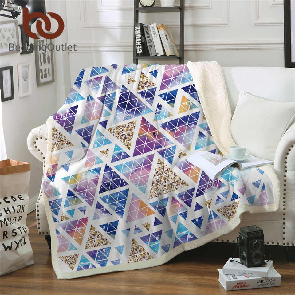 BeddingOutlet Native Sherpa Blanket Stylish Geometric Soft Fluffy Blanket Watercolor Plush Bedspread Blankets For Beds Cobertor