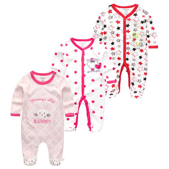 0-12Months Baby Rompers Newborn Girls&Boys 100%Cotton Clothes of Long Sheeve 1/2/3Piece Infant Clothing Pajamas Overalls Cheap - Baby Rompers RFL3708, 6M