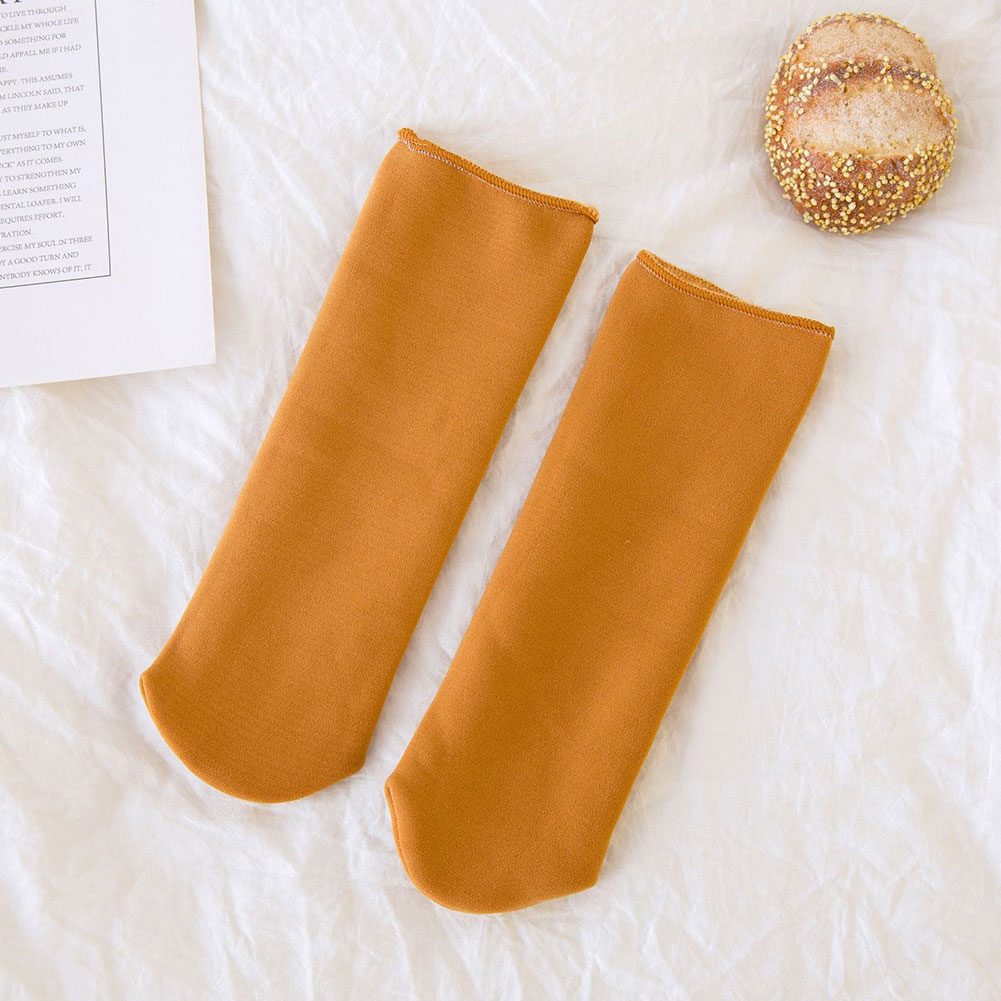Solid Warm Winter Autumn Kids Soft Lovely Socks Mid-calf Elastic Thicken