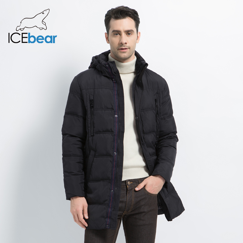 ICEbear 2019 Top Quality Warm Men's Thick Medium Long Coat Warm Winter Jacket Windproof Casual OuterwearMen Parka 16M899D