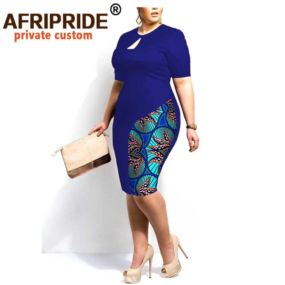African dresses for women AFRIPRIDE tailor made knee length ankra print women dress solid color+print african fabric  A722514