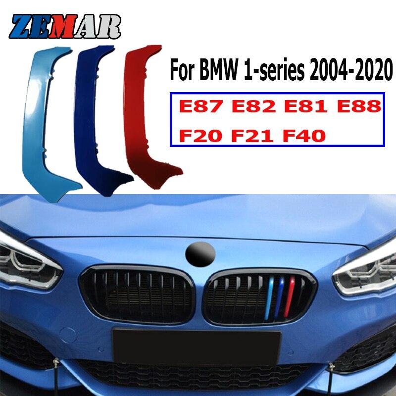 Zemar 3 pçs abs para bmw f20 f21 f40 série 1 e87 e82 e81 e88 carro de corrida grade tira guarnição clipe m desempenho potência acessórios