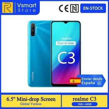 Перейти на Алиэкспресс и купить В наличии глобальная версия Realme C3 смартфон, 3 Гб оперативной памяти, 64 ГБ 6,5 ''мини-капля Экран 12MP тройной Rear Cam Helio G70 разблокировка по отпечатк...