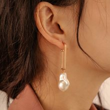 Korean Simple Gold Color Metal U Shape Long Earrings Women Fashion Jewelry 2021 Vintage Baroque Pearl Hanging Earrings EH055