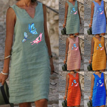 New Spring and Summer Butterfly and Dragonfly Print V-Neck Mid-Length Linen Dress Casual Loose A Line Skirt