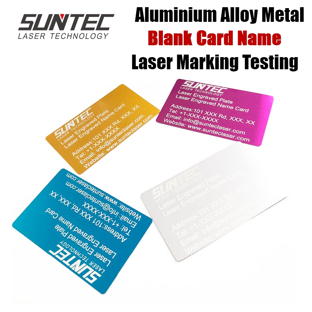 Suntec Laser 100pcs/lot Business Blank Card Name Cards Aluminium Alloy Metal Sheet Laser Testing Engraved Marking Machine