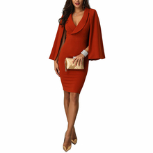 Autumn Winter Elegant Dress Woman Party Night Sheath Solid Sleeveless Cloak Sleeve Casual Knee-Length Sexy Dress Plus Size New cloak sleeve backless solid dress