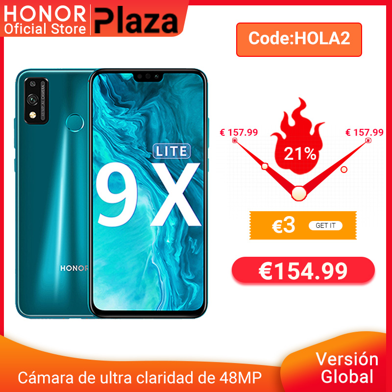 "-3€ códigoHOLA2 Nueva llegada versión Global Honor 9X Lite 4G 128G 48MP Cámara Kirin 710 de 6,5 ""teléfono móvil Android P GPU Turbo 3,0 NFC"