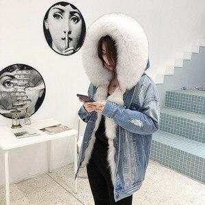 Image 3 - OFTBUY Chaqueta de invierno tipo Parka vaquera para mujer, abrigo de piel auténtica, Cuello de piel de mapache Natural, piel de zorro de abrigo, forro para exteriores, 2020
