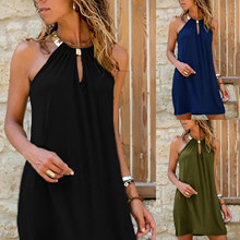 Mini Dress Strapless Vestidos Beach Party Women Summer Loose Clubwear Hanging-Neck Metal