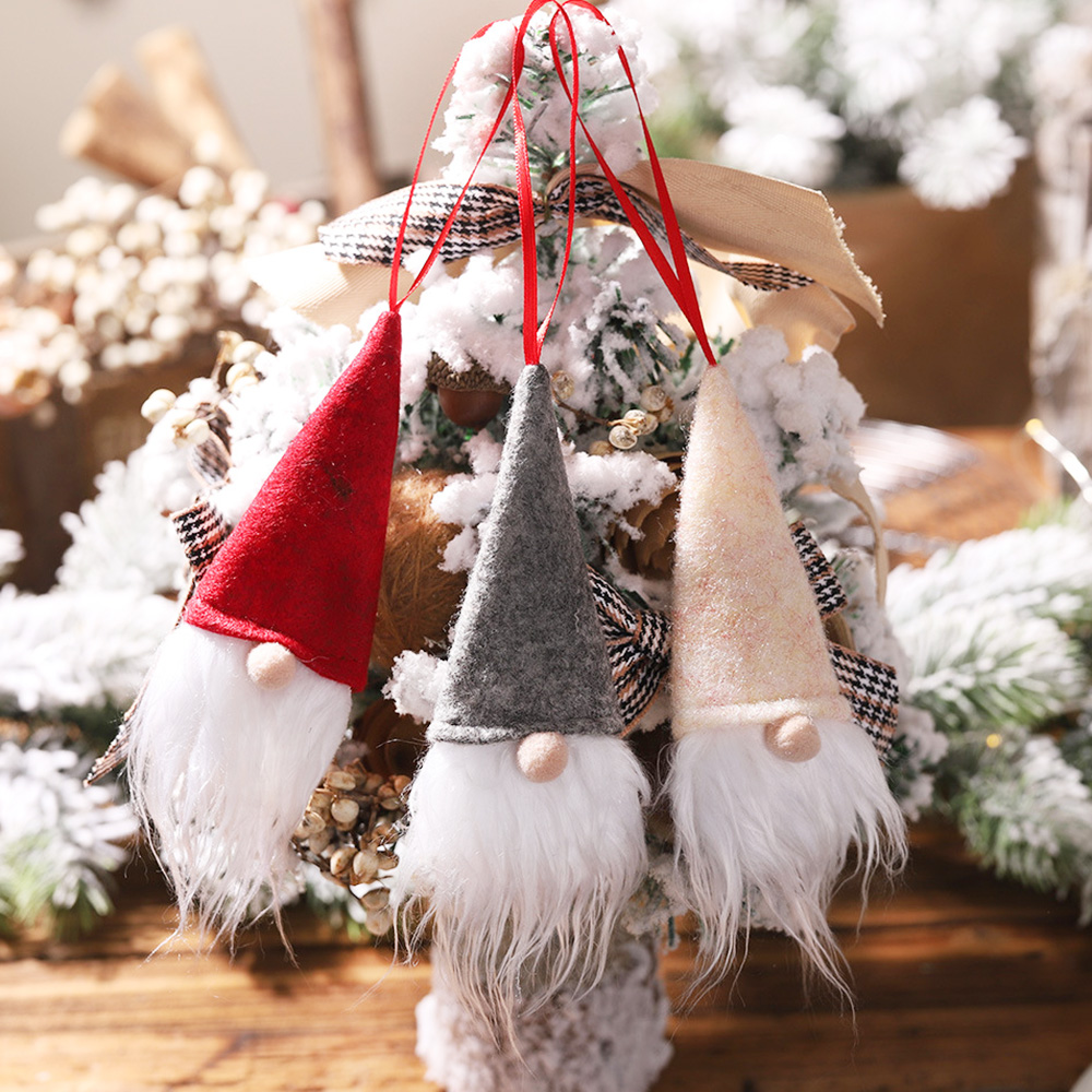 3Pcs Christmas Faceless Doll Small Pendant Decoration New Year Party Wine Bottle Set Wine Bottle Cover Christmas Tree Ornaments