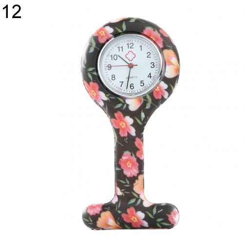 Портативный Зебра арабские печатные цифры Круглый циферблат силикон Медсестра часы Брошь Туника кармашек для часов Часы - Цвет: 12