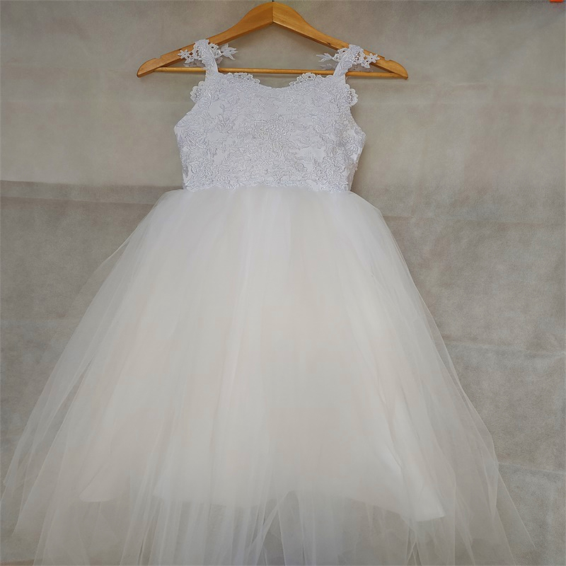 New Flower Girl Dresses with Appliques Lovely Little Girls Kids/Child Dress for Wedding Birthday Communion Party Pageant Dress
