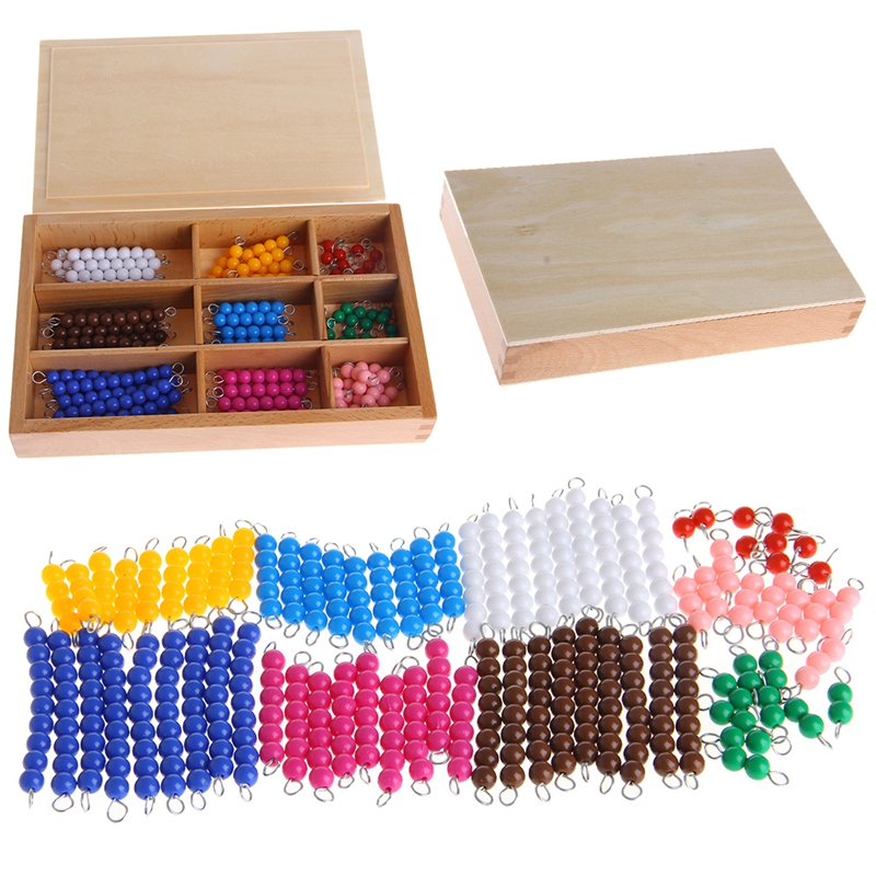 Montessori Mathematics Material 1-9 Beads Bar In Wooden Box Early Preschool Toy