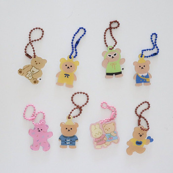 Cute Cartoon Cool Bear Pendant Chain Keychain Earphone Protective Cover Key Management Decoration Supplies